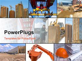 PowerPoint template displaying depiction collage of construction related depictions around working man