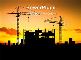 PowerPoint template displaying evening sunset view of buildings at a construction site