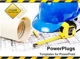 PowerPoint template displaying blue hard hat yellow pencil measuring tape and building plans in the background.