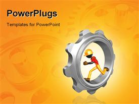PowerPoint template displaying depiction of man running in Chrome gear with reflection in background