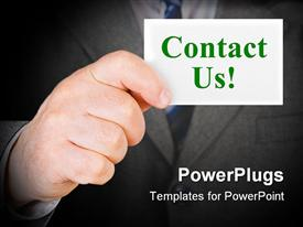 PowerPoint template displaying card Contact us in hand - business background