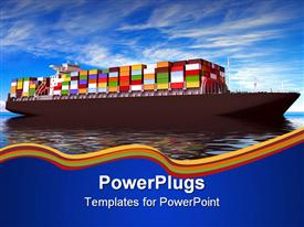 PowerPoint template displaying large container ship Against a beautiful sea landscape in the background.