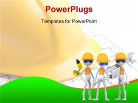 PowerPoint template displaying three white figures in safety vests and hard hats holding tools