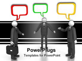 PowerPoint template displaying figures in gray business suits with colorful speech bubbles