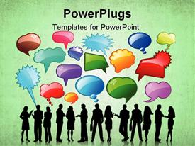 PowerPoint template displaying silhouettes of business people talking with lots of speech bubbles in the background.