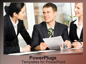 PowerPoint template displaying three business people smiling and happily having a meeting