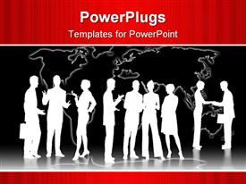 PowerPoint template displaying lots of human characters with briefcases in groups discussing