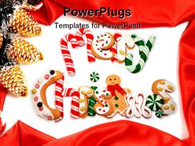 PowerPoint template displaying yummy decorated Christmas cookies spell out merry Christmas