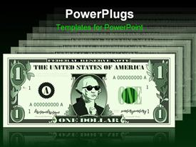 PowerPoint template displaying raster graphic depicting a dollar bill parody