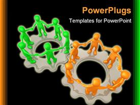 PowerPoint template displaying a number of figures standing on gears