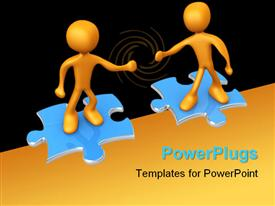 PowerPoint template displaying computer generated 3D depiction - Cooperation in the background.