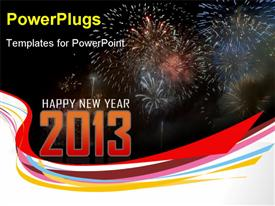 PowerPoint template displaying number fireworks digit 2013