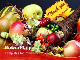 PowerPoint template displaying thanksgiving cornucopia filled with apples, pears, and other freuts