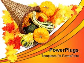 PowerPoint template displaying cornucopia with gourds and pumpkins in corner