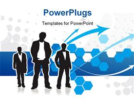 PowerPoint template displaying three men standing over abstract background with colored shapes