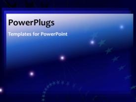 PowerPoint template displaying animated stars and lights on blue background