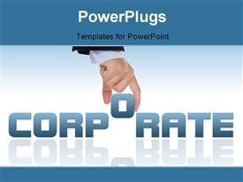 PowerPoint template displaying hand completing corporate word on white surface with reflection in background