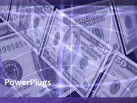 PowerPoint template displaying lots of dollar bills over a purple background with some lines