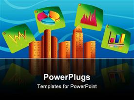 PowerPoint template displaying vector depiction of Corporate buildings with sticky 3D chart icons in the background.