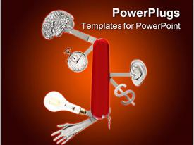 PowerPoint template displaying knife with brain and stopwatch, ear and dollar sign, light bulb and hand