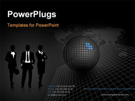 PowerPoint template displaying black stylish corporate design layout in the background.