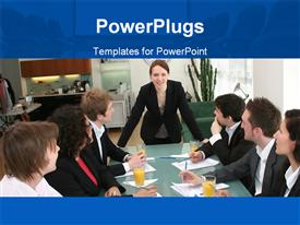 PowerPoint template displaying business woman in meeting