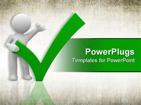 PowerPoint template displaying human with a big positive symbol in the background.