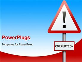 Corruption word on road sign powerpoint design layout