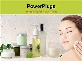 PowerPoint template displaying young girl applying on a face a cosmetic pad in the background.