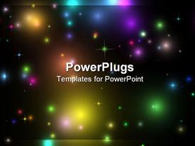 PowerPoint template displaying a view of lots of colorful lights in space
