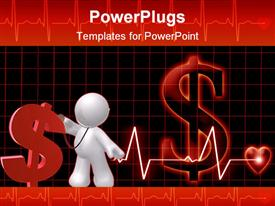 PowerPoint template displaying concept of public healthcare cost represented by red dollar sign with 3D white figure and heart monitoring line leading to heart on dark red and black background