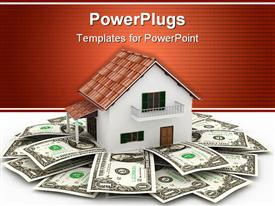 PowerPoint template displaying 3D rendering of bungalow surrounded by dollar bills