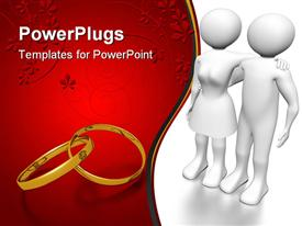 PowerPoint template displaying 3D white couple with gold wedding ring