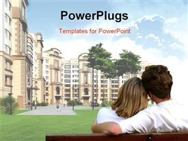 PowerPoint template displaying illustrated residential complex floating in the sky