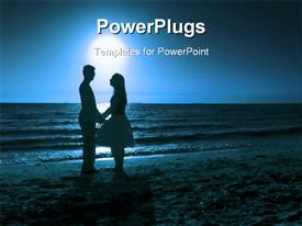 PowerPoint template displaying love at sunset in the background.