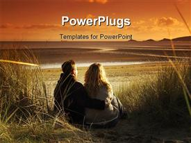 PowerPoint template displaying couple hugging in sand dunes watching sunset