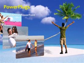 PowerPoint template displaying a short video of a man standing on a beach