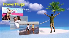 PowerPoint template displaying a short video of a man standing on a beach - widescreen format