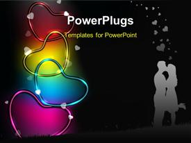 Colorful glossy and shiny heart shapes powerpoint theme
