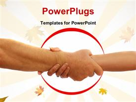 Couple with hands rescuing each other form peril powerpoint theme