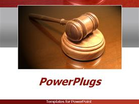 PowerPoint template displaying court gavel on white and grey background