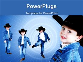 PowerPoint template displaying a kid in different styles with spiral lights in the background