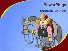 PowerPoint template displaying cartoon of cowboy with his gray horse on blue background