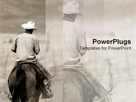 Lone cowboy rides his horse template for powerpoint