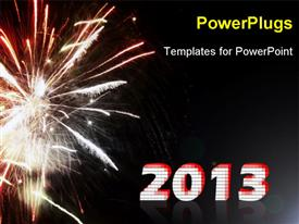 PowerPoint template displaying sparking firework text spells out word