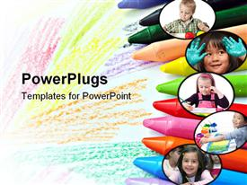 PowerPoint template displaying crayons to draw and paint on a blank page