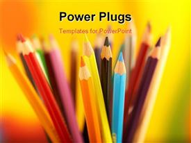 PowerPoint template displaying series of colorful pencils shot on colorful background