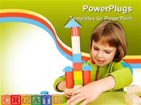 PowerPoint template displaying child plays with toy blocks
