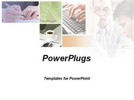 PowerPoint template displaying depiction of a business discussion ,meeting,and team play