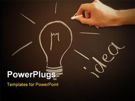 PowerPoint template displaying bulb on chalkboard showing idea creativity and innovation